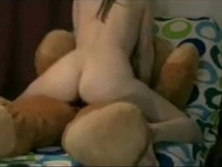 Hot teen fucks strapon teddy bear