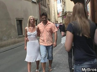 Czech blonde cheats him with his brother